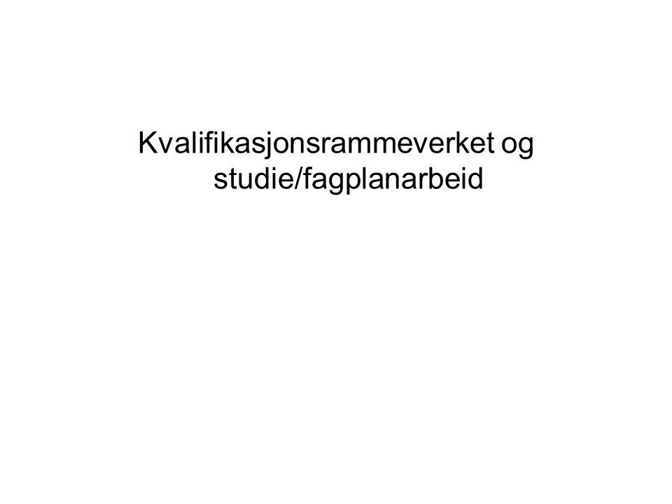 Kvalifikasjonsrammeverket og studie/fagplanarbeid