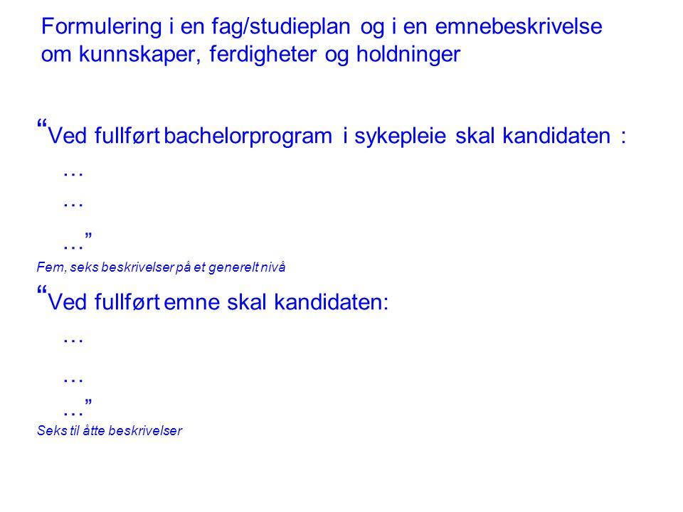 Ministerkonferansen i Bergen 2005 Vi vedtar det overordnete rammeverket for kvalifikasjoner i Det europeiske området for høyere utdanning, med tre nivåer for grader (inkludert, i nasjonal sammenheng, muligheten for kvalifikasjoner mellom gradsnivåene), allmenne deskriptorer for hvert gradsnivå basert på læringsutbytte og kompetanse, og et definert omfang av studiepoeng for første og andre nivå.