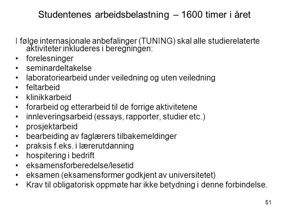 51 Studentenes arbeidsbelastning – 1600 timer i året I følge internasjonale anbefalinger (TUNING) skal alle studierelaterte aktiviteter inkluderes i b