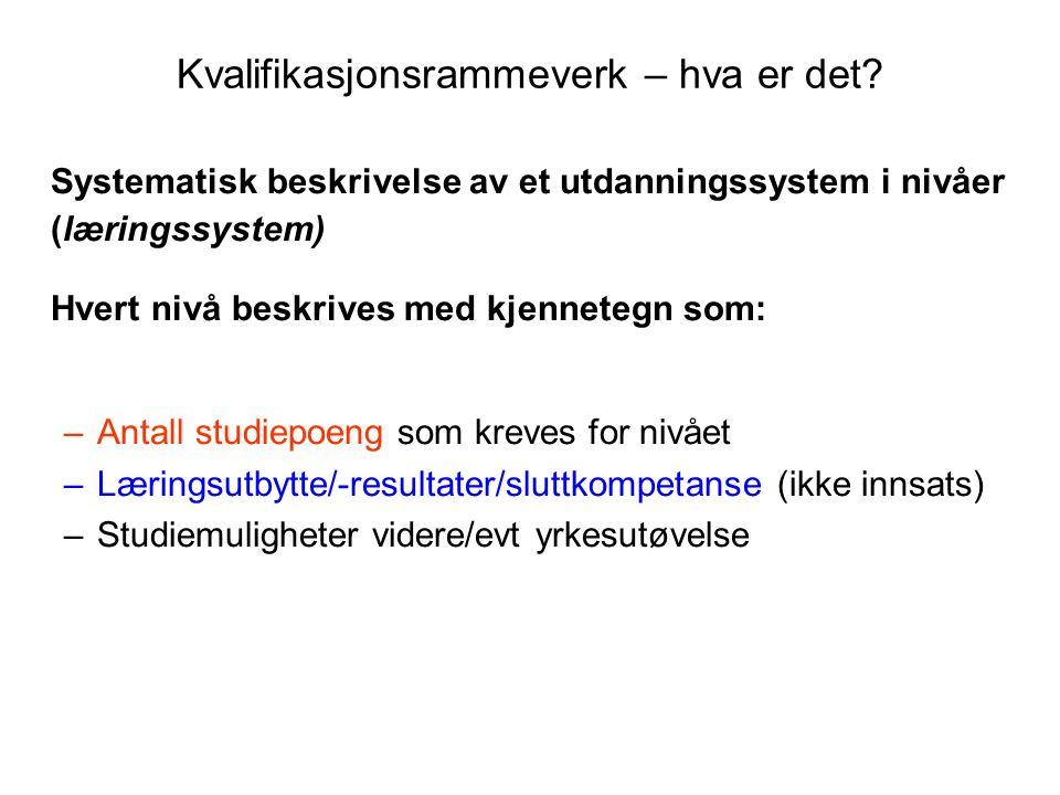 Kvalifikasjoner (grader) omfattet av rammeverket 20.03.2009 GradOmfang (år)NivåKval.type Bachelor3 11.