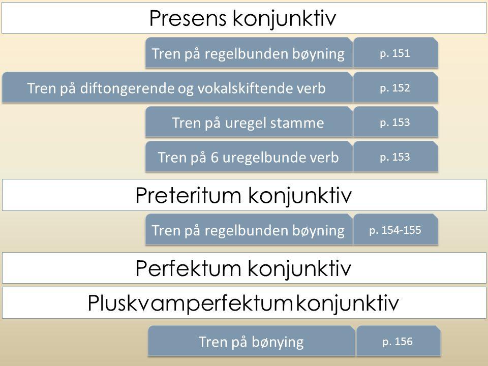 Tren på regelbunden bøyning p. 151 Tren på diftongerende og vokalskiftende verb p. 152 Tren på uregel stamme p. 153 Tren på 6 uregelbunde verb p. 153