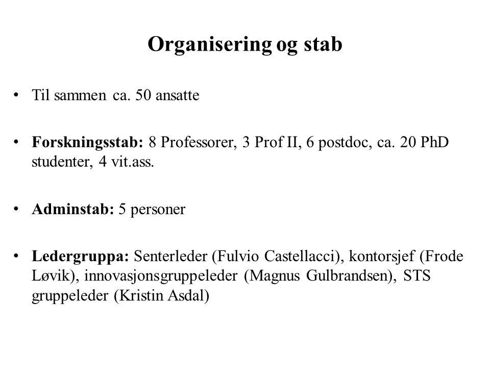 Organisering og stab Til sammen ca.