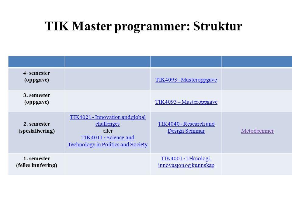 TIK Master programmer: Struktur 4- semester (oppgave)TIK4093 - Masteroppgave 3.