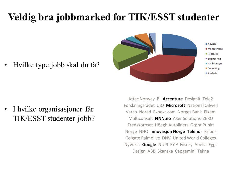 Veldig bra jobbmarked for TIK/ESST studenter Hvilke type jobb skal du få.