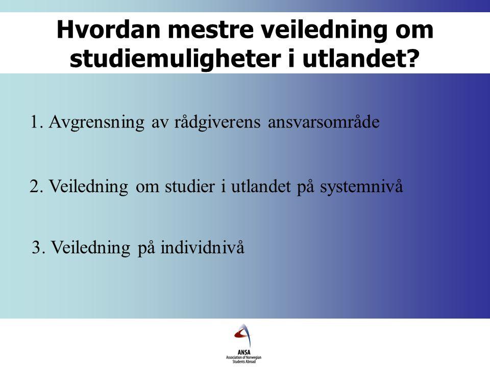 Refleksjon rundt veiledningen Hvilke holdninger har en selv som rådgiver til spørsmål om studier i utlandet.