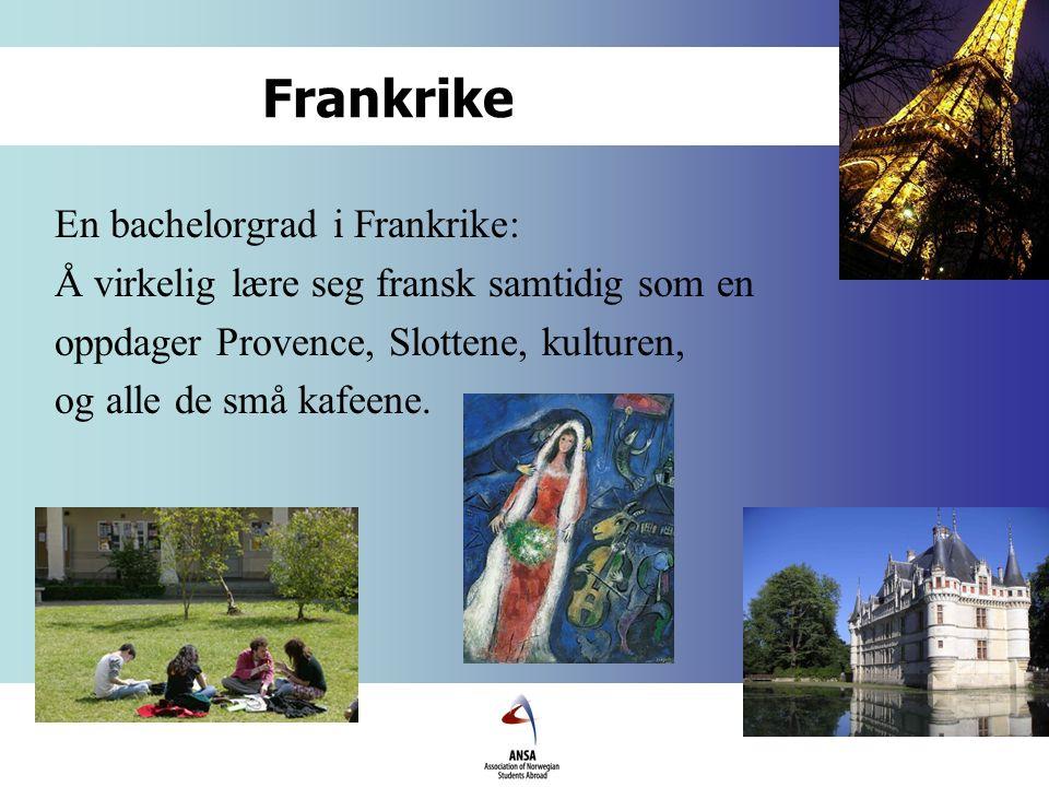 Frankrike En bachelorgrad i Frankrike: Å virkelig lære seg fransk samtidig som en oppdager Provence, Slottene, kulturen, og alle de små kafeene.