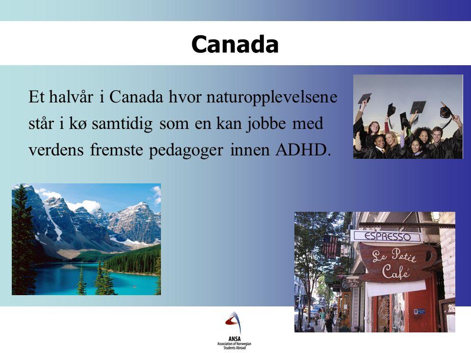 Canada Et halvår i Canada hvor naturopplevelsene står i kø samtidig som en kan jobbe med verdens fremste pedagoger innen ADHD.