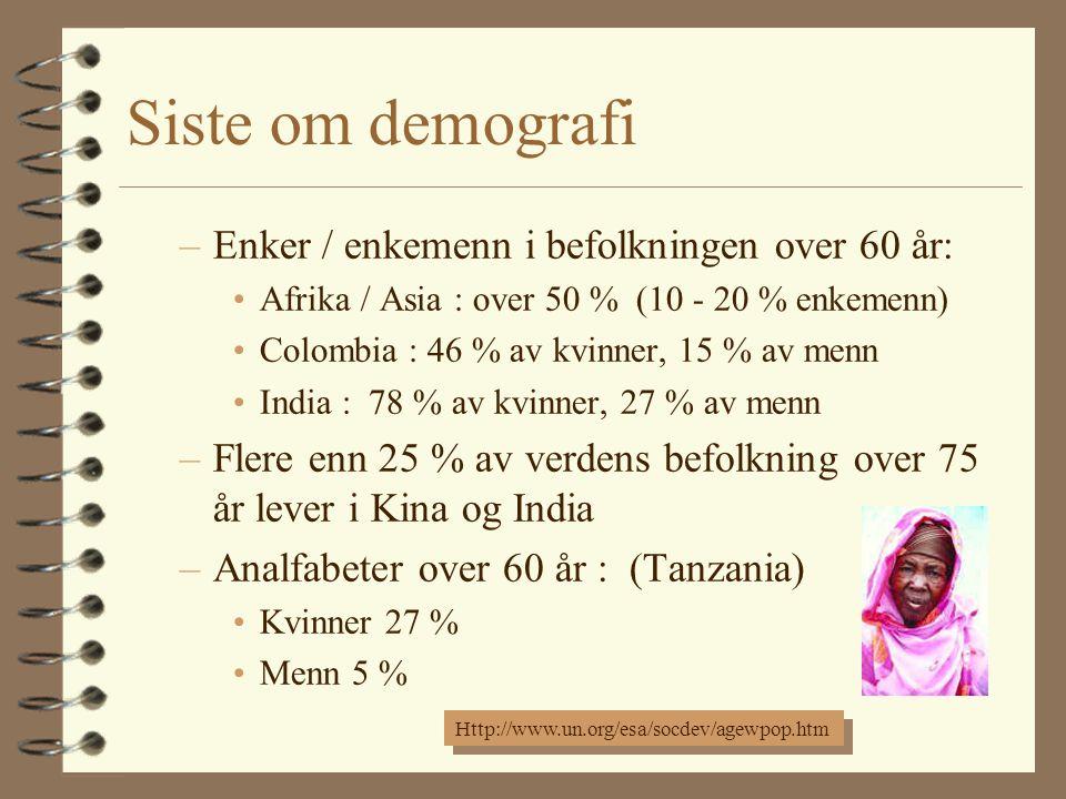 Siste om demografi –Enker / enkemenn i befolkningen over 60 år: Afrika / Asia : over 50 % (10 - 20 % enkemenn) Colombia : 46 % av kvinner, 15 % av menn India : 78 % av kvinner, 27 % av menn –Flere enn 25 % av verdens befolkning over 75 år lever i Kina og India –Analfabeter over 60 år : (Tanzania) Kvinner 27 % Menn 5 % Http://www.un.org/esa/socdev/agewpop.htm