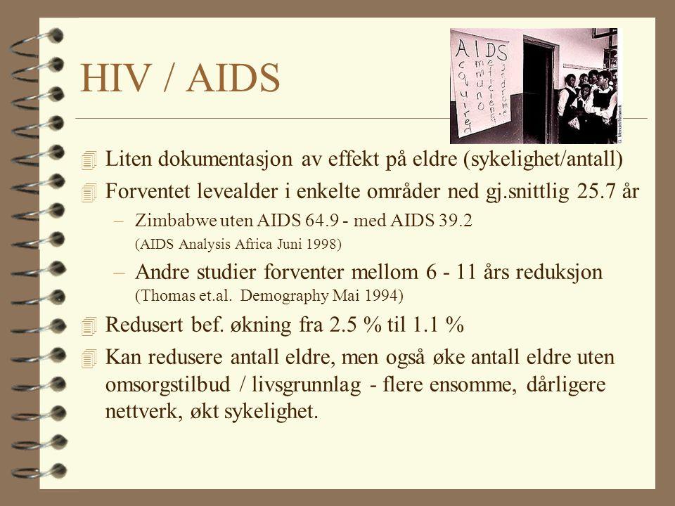 HIV / AIDS 4 Liten dokumentasjon av effekt på eldre (sykelighet/antall) 4 Forventet levealder i enkelte områder ned gj.snittlig 25.7 år –Zimbabwe uten AIDS 64.9 - med AIDS 39.2 (AIDS Analysis Africa Juni 1998) –Andre studier forventer mellom 6 - 11 års reduksjon (Thomas et.al.
