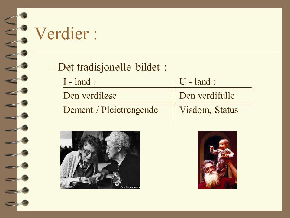 Verdier : –Det tradisjonelle bildet : I - land :U - land : Den verdiløse Den verdifulle Dement / Pleietrengende Visdom, Status