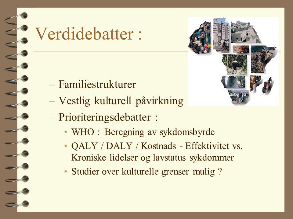 Verdidebatter : –Familiestrukturer –Vestlig kulturell påvirkning –Prioriteringsdebatter : WHO : Beregning av sykdomsbyrde QALY / DALY / Kostnads - Effektivitet vs.