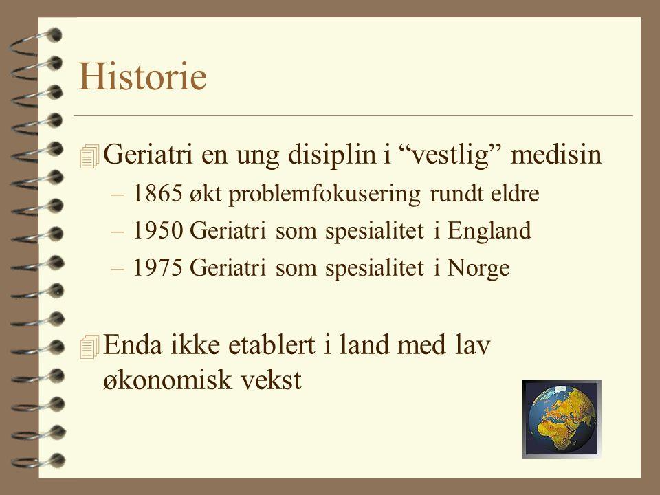 Historie 4 Geriatri en ung disiplin i vestlig medisin –1865 økt problemfokusering rundt eldre –1950 Geriatri som spesialitet i England –1975 Geriatri som spesialitet i Norge 4 Enda ikke etablert i land med lav økonomisk vekst