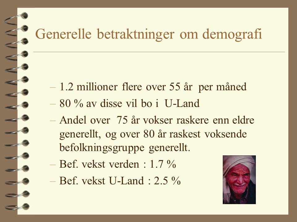 Generelle betraktninger om demografi –1.2 millioner flere over 55 år per måned –80 % av disse vil bo i U-Land –Andel over 75 år vokser raskere enn eldre generellt, og over 80 år raskest voksende befolkningsgruppe generellt.
