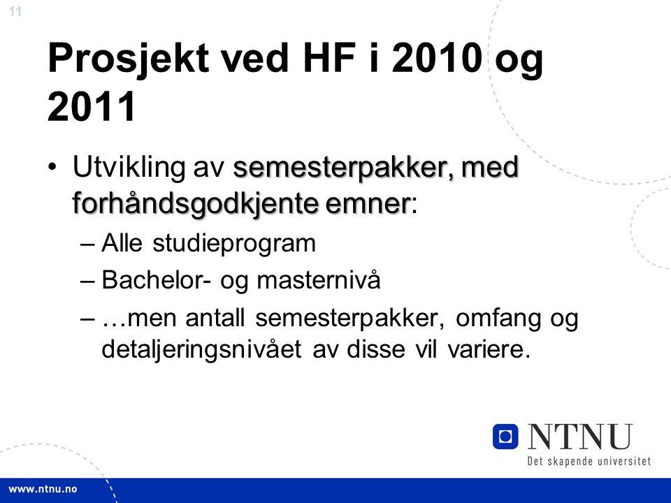 11 Prosjekt ved HF i 2010 og 2011 semesterpakker, med forhåndsgodkjente emnerUtvikling av semesterpakker, med forhåndsgodkjente emner: –Alle studieprogram –Bachelor- og masternivå –…men antall semesterpakker, omfang og detaljeringsnivået av disse vil variere.