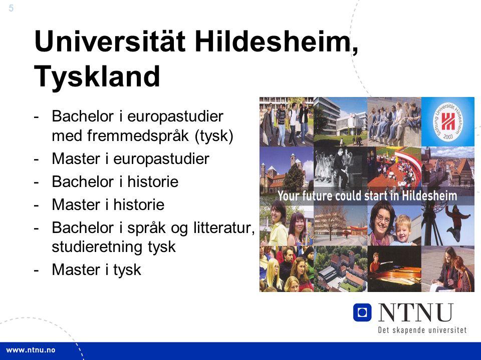 5 Universität Hildesheim, Tyskland -Bachelor i europastudier med fremmedspråk (tysk) -Master i europastudier -Bachelor i historie -Master i historie -Bachelor i språk og litteratur, studieretning tysk -Master i tysk