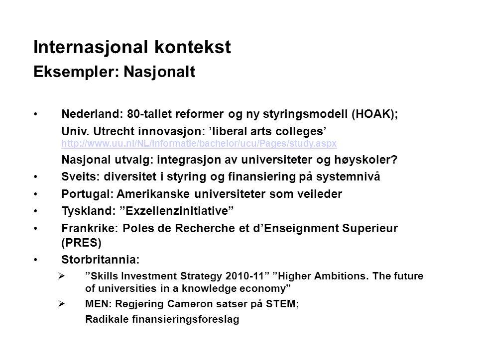 Internasjonal kontekst Eksempler: Nasjonalt Nederland: 80-tallet reformer og ny styringsmodell (HOAK); Univ.