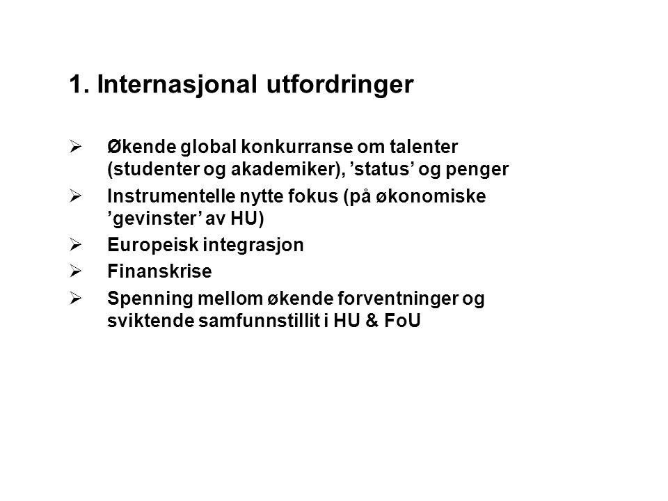 Europa: Fellesstrukturer: Bologna 2020 / European Higher Education Area (EHEA)  Europeisk kvalitetssikring/akkreditering (EQAR)  Fellesgradsprogrammer (Erasmus Mundus)  Kvalifikasjonsrammeverker Felles politikk/koordinering av nasjonal politikk: Open Method of Coordination (OMC) European Research Area (ERA); Ljubljana prosessen  Økende (grunn-)forskningsfinansiering gjennom europeiske strukturer (FP7; ERC; EIT) Nye europeiske institusjoner:  European Research Council (ERC, part of FP7)  European Institute for Innovation and Technology (EIT)  European Qualification Framework (EQF)