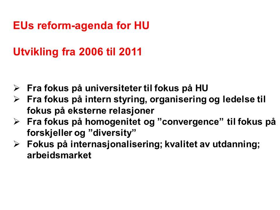 EUs reform-agenda for HU Utvikling fra 2006 til 2011  Fra fokus på universiteter til fokus på HU  Fra fokus på intern styring, organisering og ledelse til fokus på eksterne relasjoner  Fra fokus på homogenitet og convergence til fokus på forskjeller og diversity  Fokus på internasjonalisering; kvalitet av utdanning; arbeidsmarket