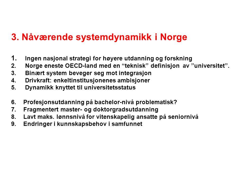 3.Nåværende systemdynamikk i Norge 1. Ingen nasjonal strategi for høyere utdanning og forskning 2.