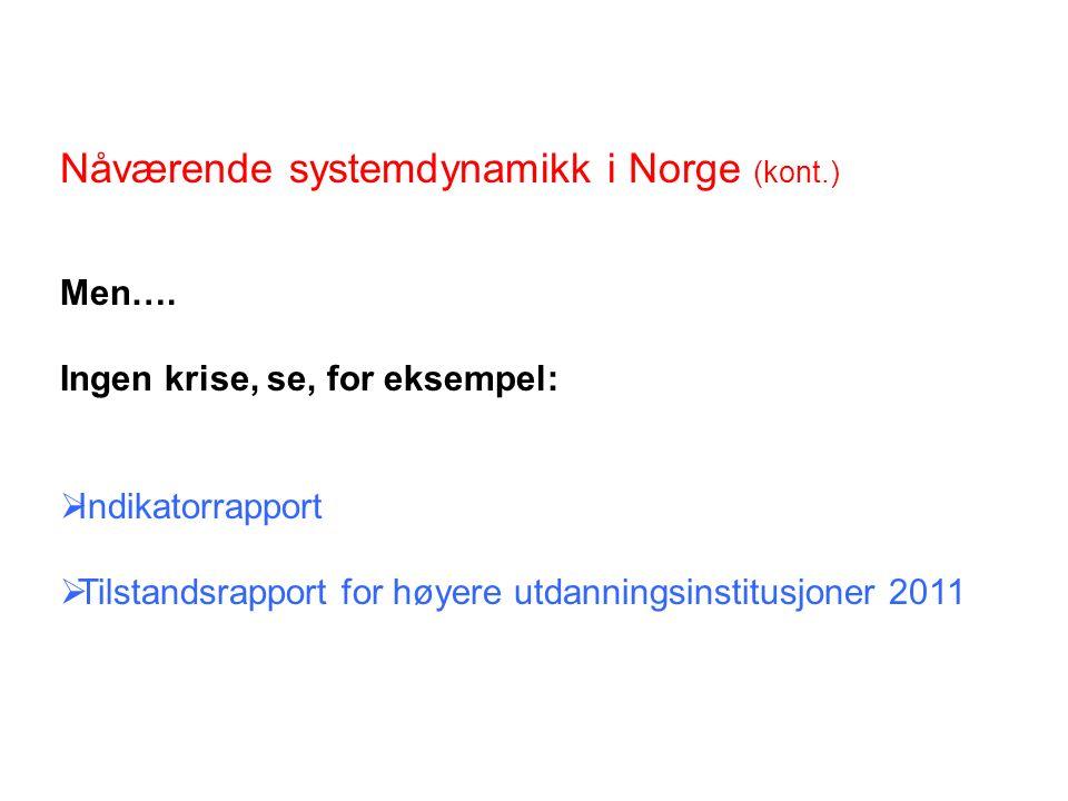 Nåværende systemdynamikk i Norge (kont.) Men….