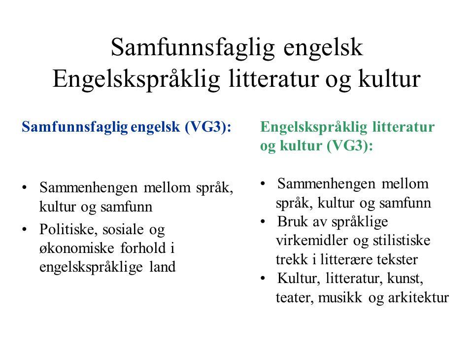 Samfunnsfaglig engelsk Engelskspråklig litteratur og kultur Samfunnsfaglig engelsk (VG3): Sammenhengen mellom språk, kultur og samfunn Politiske, sosi