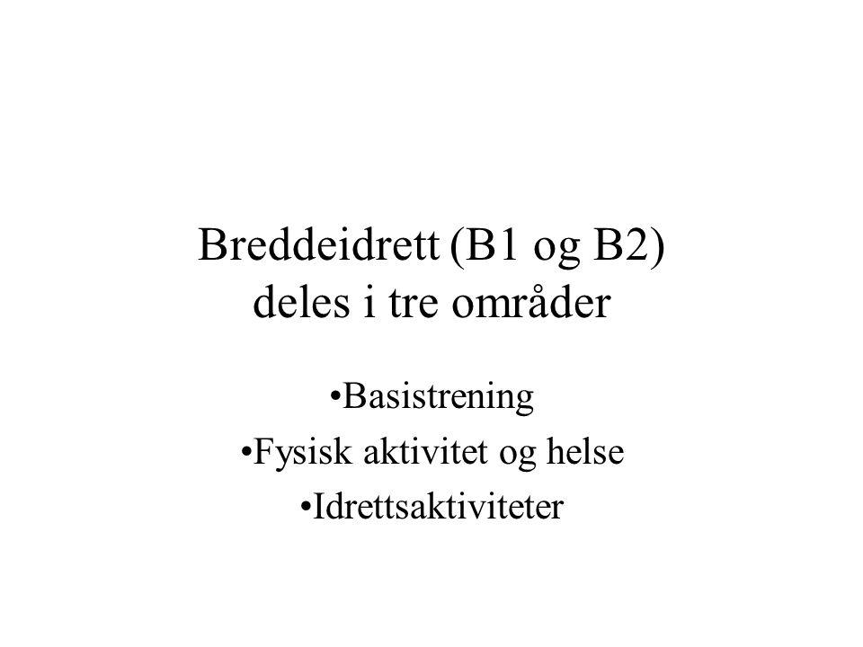 Breddeidrett (B1 og B2) deles i tre områder Basistrening Fysisk aktivitet og helse Idrettsaktiviteter