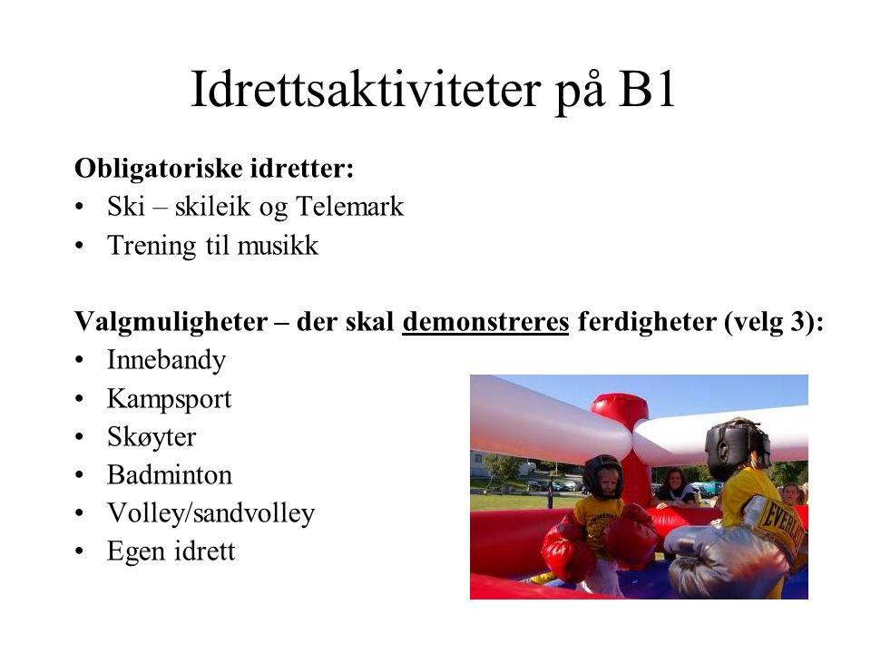 Idrettsaktiviteter på B1 Obligatoriske idretter: Ski – skileik og Telemark Trening til musikk Valgmuligheter – der skal demonstreres ferdigheter (velg 3): Innebandy Kampsport Skøyter Badminton Volley/sandvolley Egen idrett