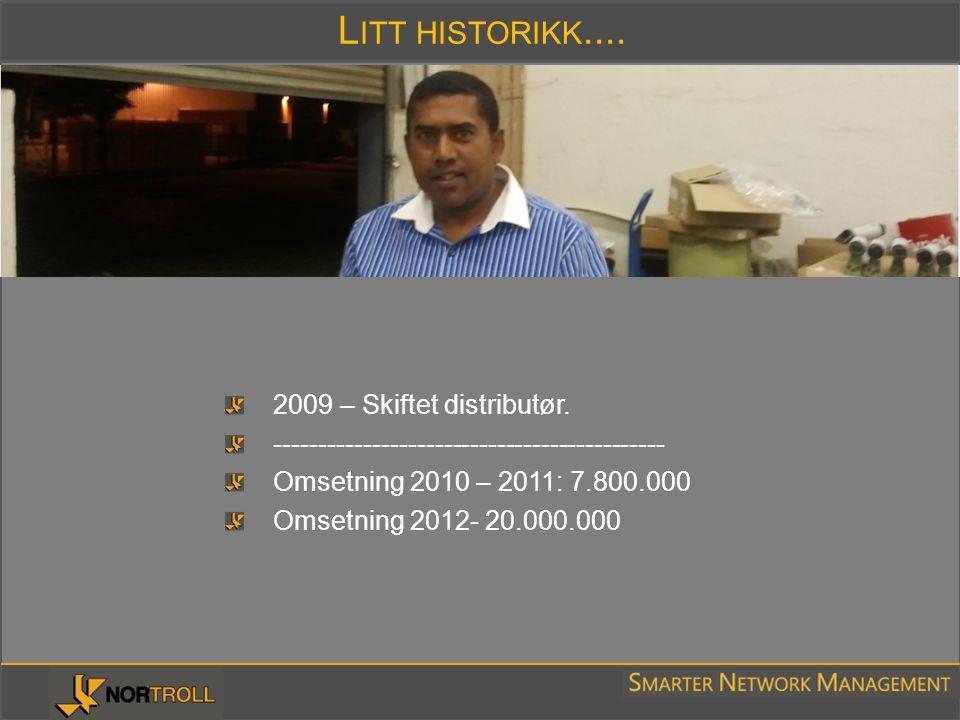 L ITT HISTORIKK.... 2009 – Skiftet distributør. -------------------------------------------- Omsetning 2010 – 2011: 7.800.000 Omsetning 2012- 20.000.0