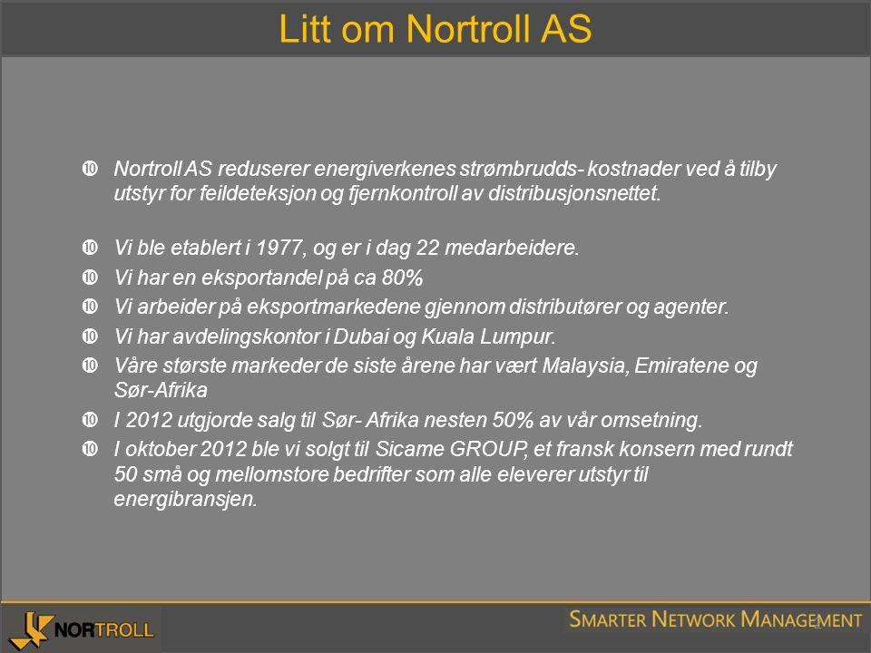 Litt om Nortroll AS 2  Nortroll AS reduserer energiverkenes strømbrudds- kostnader ved å tilby utstyr for feildeteksjon og fjernkontroll av distribus