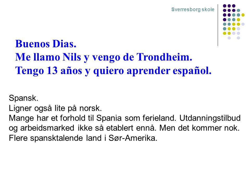 Buenos Dias. Me llamo Nils y vengo de Trondheim. Tengo 13 años y quiero aprender español.