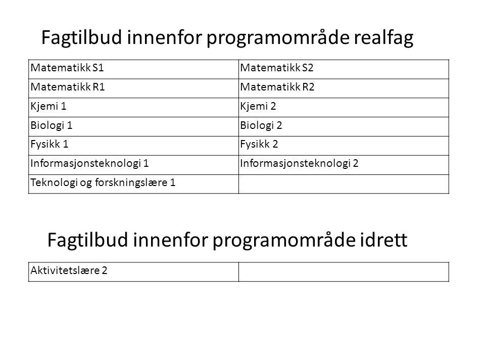 Oslo kommune Utdanningsetaten Fagtilbud innenfor programområde realfag Matematikk S1Matematikk S2 Matematikk R1Matematikk R2 Kjemi 1Kjemi 2 Biologi 1B