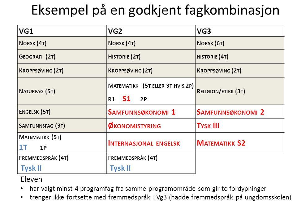Oslo kommune Utdanningsetaten VG1VG2VG3 N ORSK (4 T ) N ORSK (6 T ) G EOGRAFI (2 T )H ISTORIE (2 T ) HISTORIE (4 T ) K ROPPSØVING (2 T ) N ATURFAG (5 T ) M ATEMATIKK (5 T ELLER 3 T HVIS 2 P ) R1 S1 2P R ELIGION / ETIKK (3 T ) E NGELSK (5 T ) S AMFUNNSØKONOMI 1S AMFUNNSØKONOMI 2 S AMFUNNSFAG (3 T ) Ø KONOMISTYRING T YSK III M ATEMATIKK (5 T ) 1T 1P I NTERNASJONAL ENGELSK M ATEMATIKK S2 F REMMEDSPRÅK (4 T ) Tysk II F REMMEDSPRÅK (4 T ) Tysk II Eksempel på en godkjent fagkombinasjon Eleven har valgt minst 4 programfag fra samme programområde som gir to fordypninger trenger ikke fortsette med fremmedspråk i Vg3 (hadde fremmedspråk på ungdomsskolen)