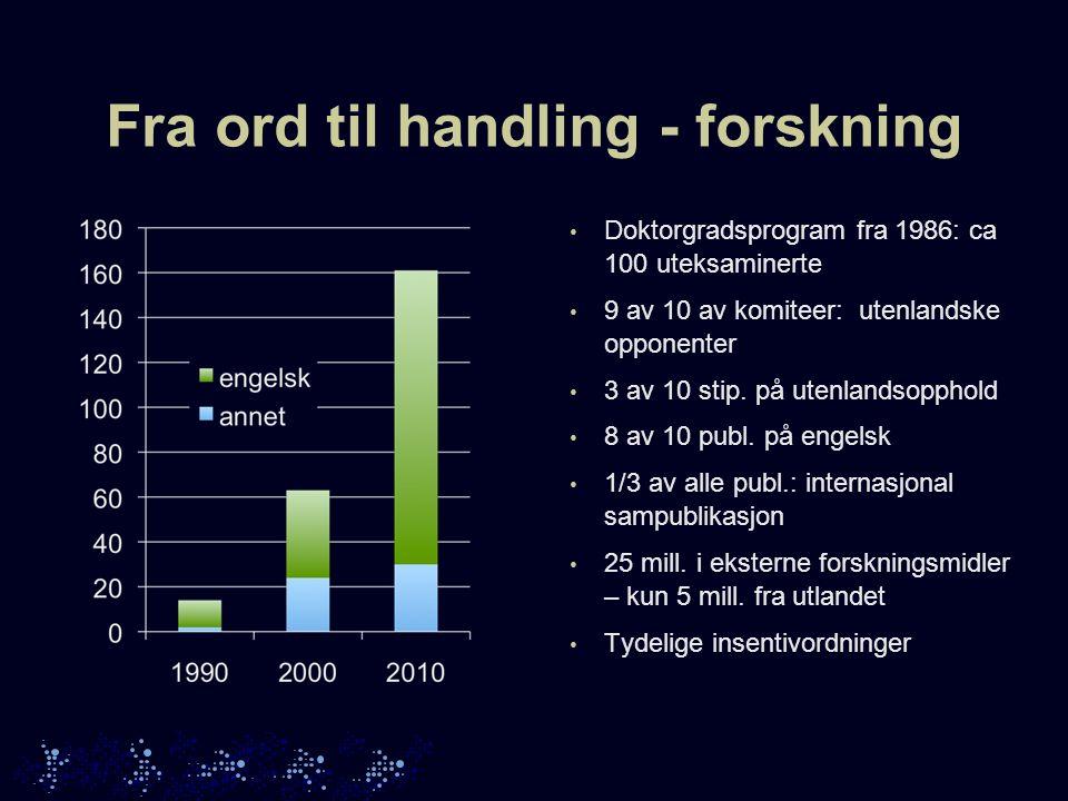 Fra ord til handling - tilsettinger Ekstremcase: biomekanikk 2009: 1 professor (USA) 2011: 12 fagansatte.