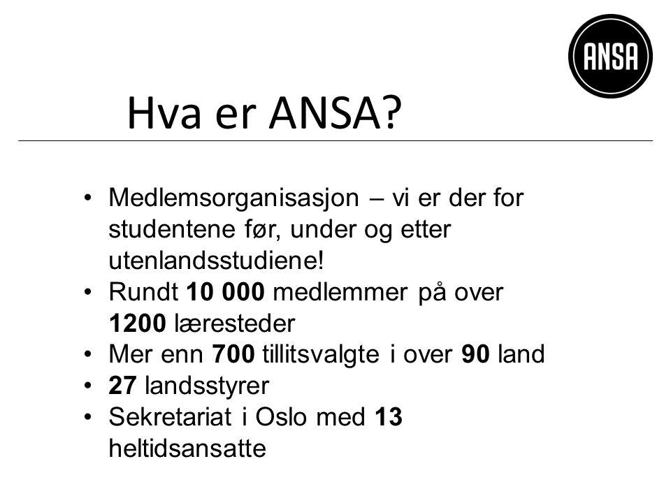 Hva er ANSA. Medlemsorganisasjon – vi er der for studentene før, under og etter utenlandsstudiene.