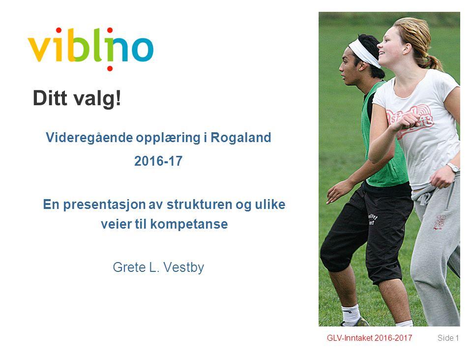 Side 1 Ditt valg! Videregående opplæring i Rogaland 2016-17 En presentasjon av strukturen og ulike veier til kompetanse Grete L. Vestby GLV-Inntaket 2