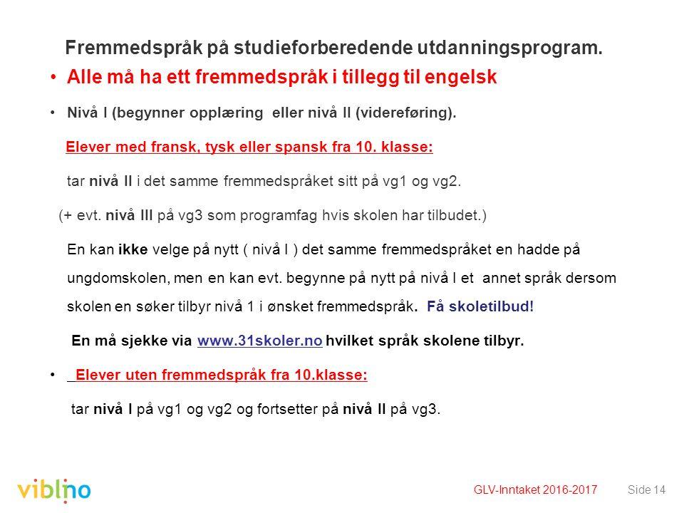 Fremmedspråk på studieforberedende utdanningsprogram. Alle må ha ett fremmedspråk i tillegg til engelsk Nivå I (begynner opplæring eller nivå II (vide
