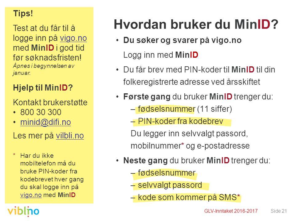 Side 21 Hvordan bruker du MinID.