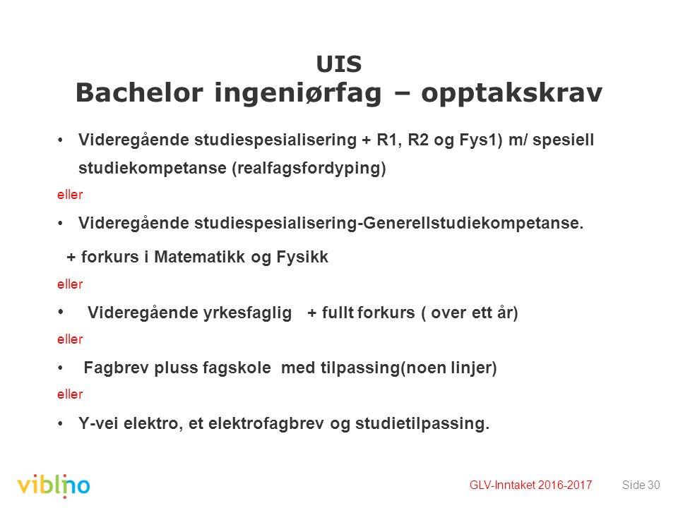 UIS Bachelor ingeniørfag – opptakskrav Videregående studiespesialisering + R1, R2 og Fys1) m/ spesiell studiekompetanse (realfagsfordyping) eller Videregående studiespesialisering-Generellstudiekompetanse.