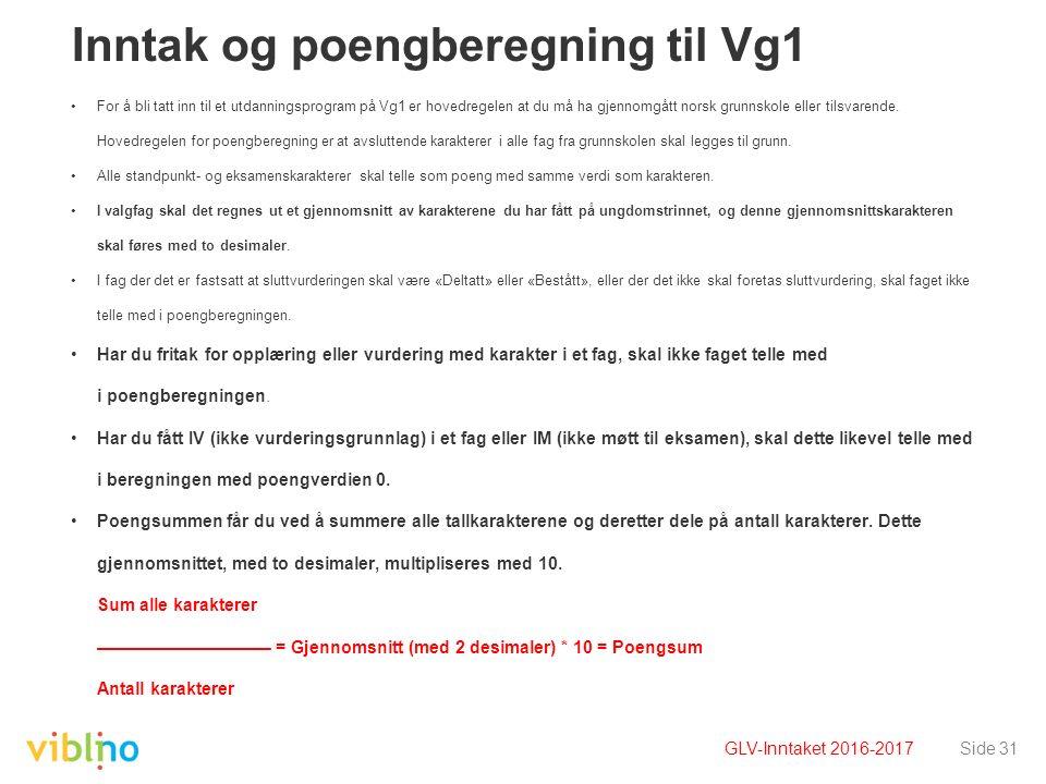 Inntak og poengberegning til Vg1 For å bli tatt inn til et utdanningsprogram på Vg1 er hovedregelen at du må ha gjennomgått norsk grunnskole eller til