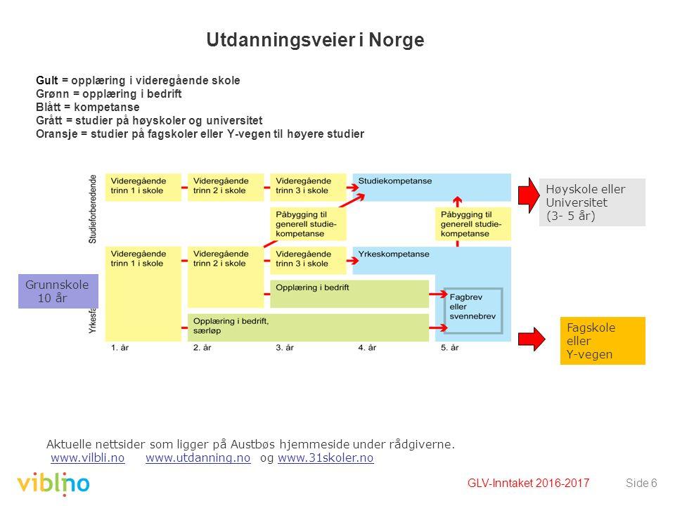 Utdanningsveier i Norge Gult = opplæring i videregående skole Grønn = opplæring i bedrift Blått = kompetanse Grått = studier på høyskoler og universit