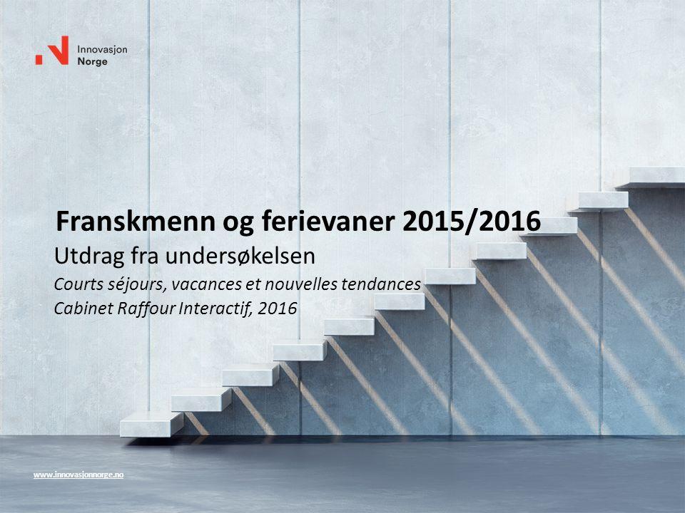 www.innovasjonnorge.no Franskmenn og ferievaner 2015/2016 Utdrag fra undersøkelsen Courts séjours, vacances et nouvelles tendances Cabinet Raffour Int
