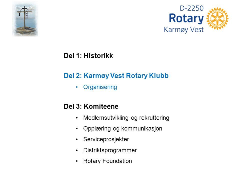 Del 1: Historikk Del 2: Karmøy Vest Rotary Klubb Organisering Del 3: Komiteene Medlemsutvikling og rekruttering Opplæring og kommunikasjon Servicepros