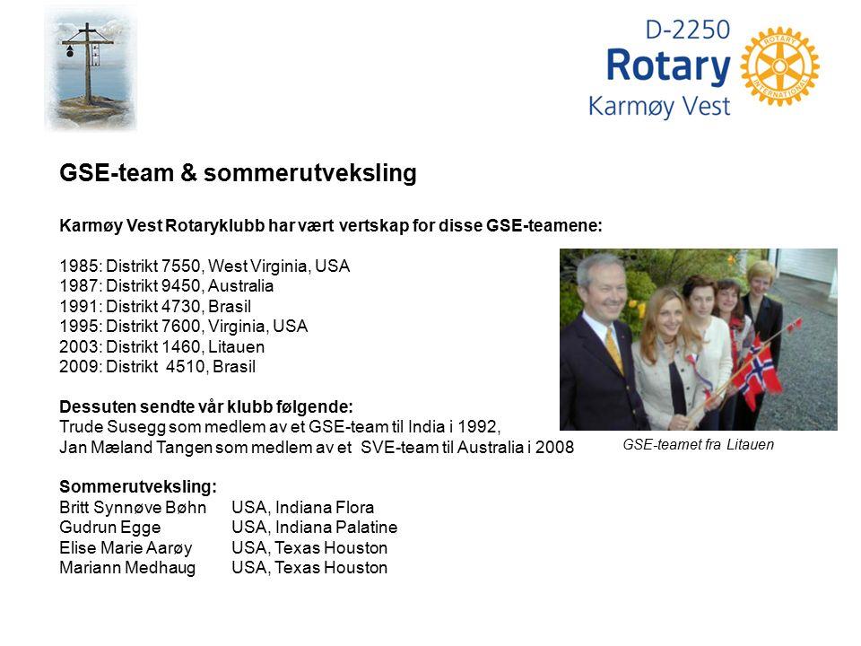 GSE-teamet fra Litauen GSE-team & sommerutveksling Karmøy Vest Rotaryklubb har vært vertskap for disse GSE-teamene: 1985: Distrikt 7550, West Virginia