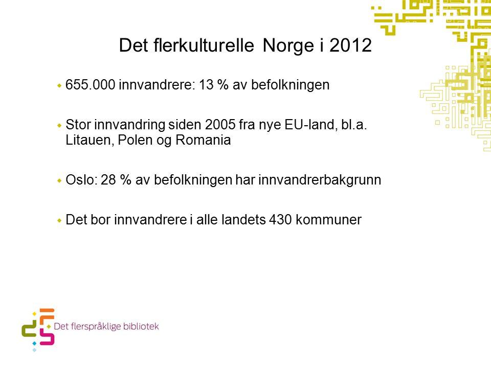 Det flerkulturelle Norge i 2012  655.000 innvandrere: 13 % av befolkningen  Stor innvandring siden 2005 fra nye EU-land, bl.a.