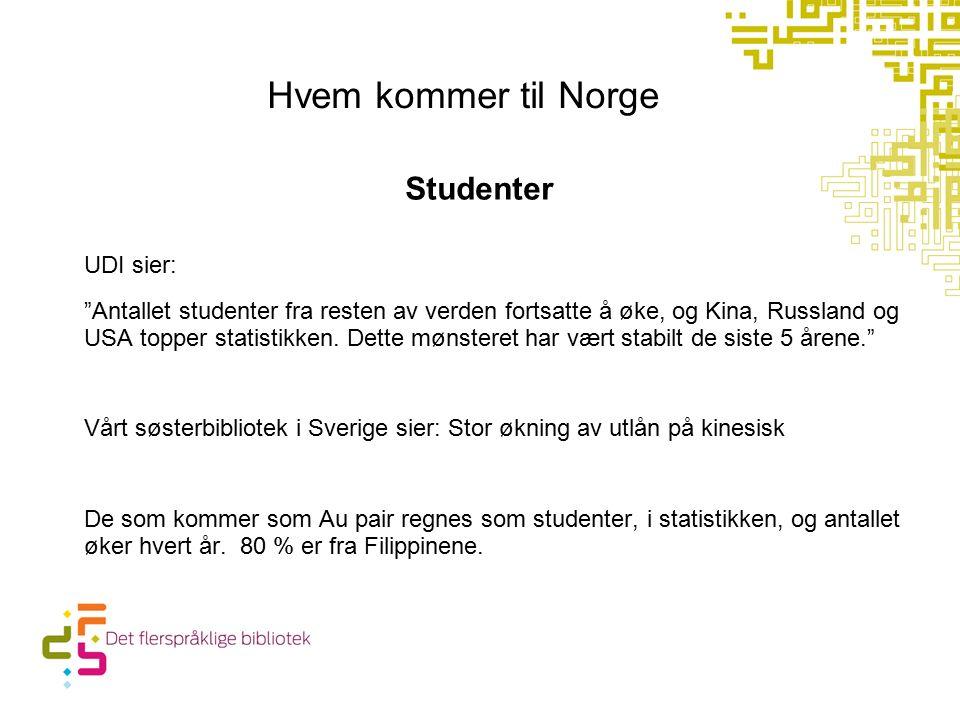 Hvem kommer til Norge Studenter UDI sier: Antallet studenter fra resten av verden fortsatte å øke, og Kina, Russland og USA topper statistikken.