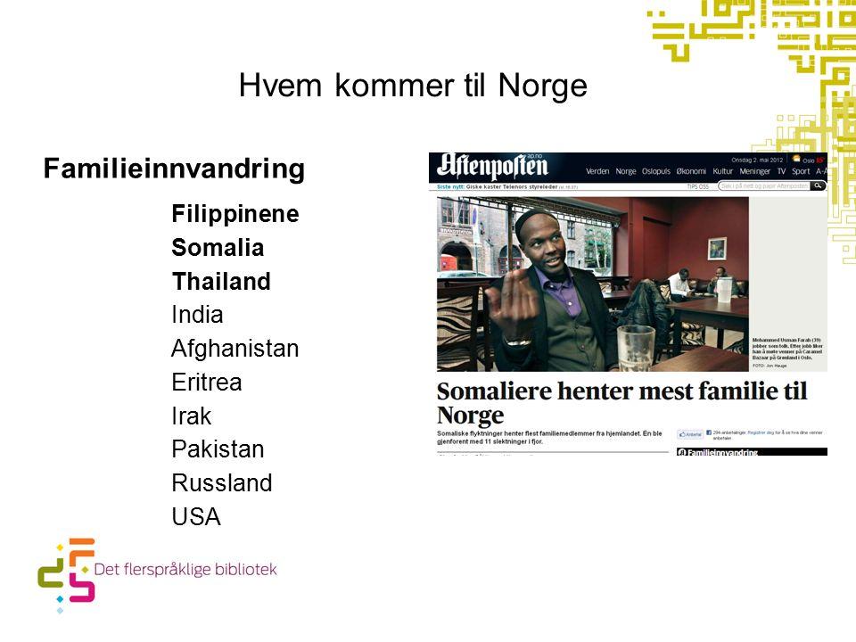 Hvem kommer til Norge Familieinnvandring Filippinene Somalia Thailand India Afghanistan Eritrea Irak Pakistan Russland USA