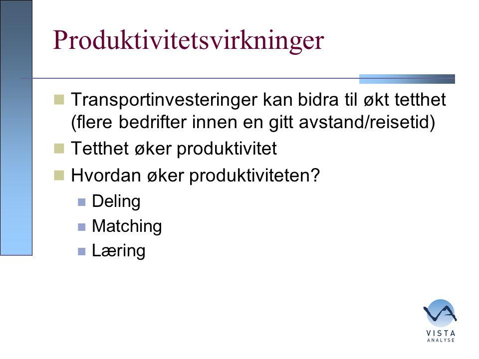 Produktivitetsvirkninger Transportinvesteringer kan bidra til økt tetthet (flere bedrifter innen en gitt avstand/reisetid) Tetthet øker produktivitet Hvordan øker produktiviteten.