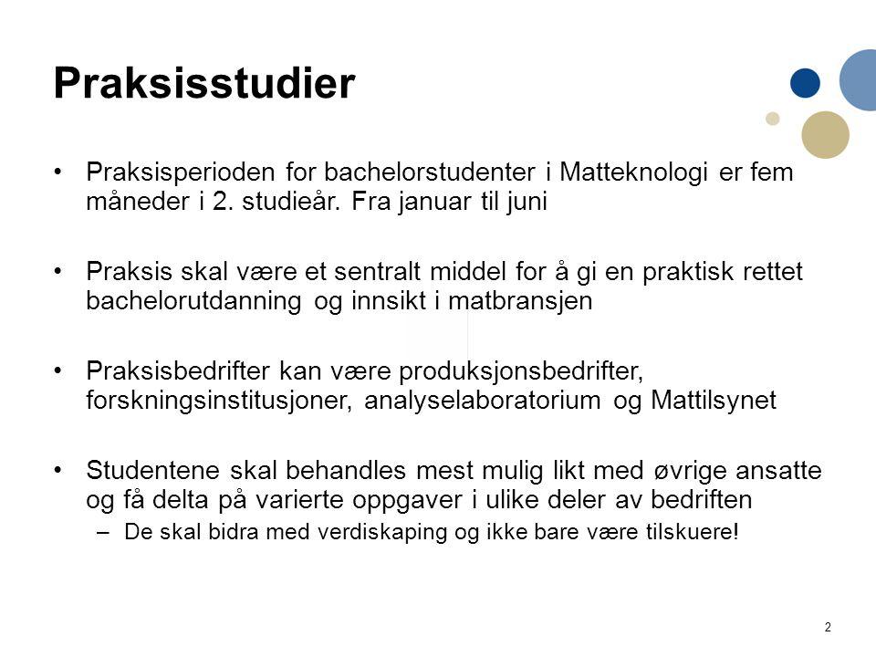 2 Praksisstudier Praksisperioden for bachelorstudenter i Matteknologi er fem måneder i 2.
