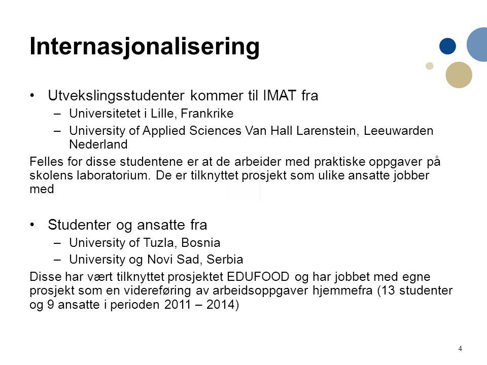 4 Internasjonalisering Utvekslingsstudenter kommer til IMAT fra –Universitetet i Lille, Frankrike –University of Applied Sciences Van Hall Larenstein, Leeuwarden Nederland Felles for disse studentene er at de arbeider med praktiske oppgaver på skolens laboratorium.