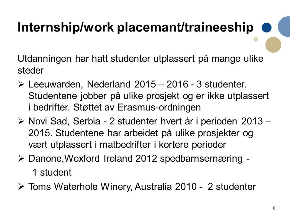 6 Internship/work placemant/traineeship Utdanningen har hatt studenter utplassert på mange ulike steder  Leeuwarden, Nederland 2015 – 2016 - 3 studenter.